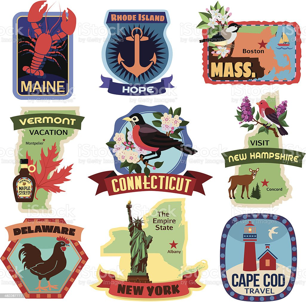 North East US states travel stickers vector art illustration