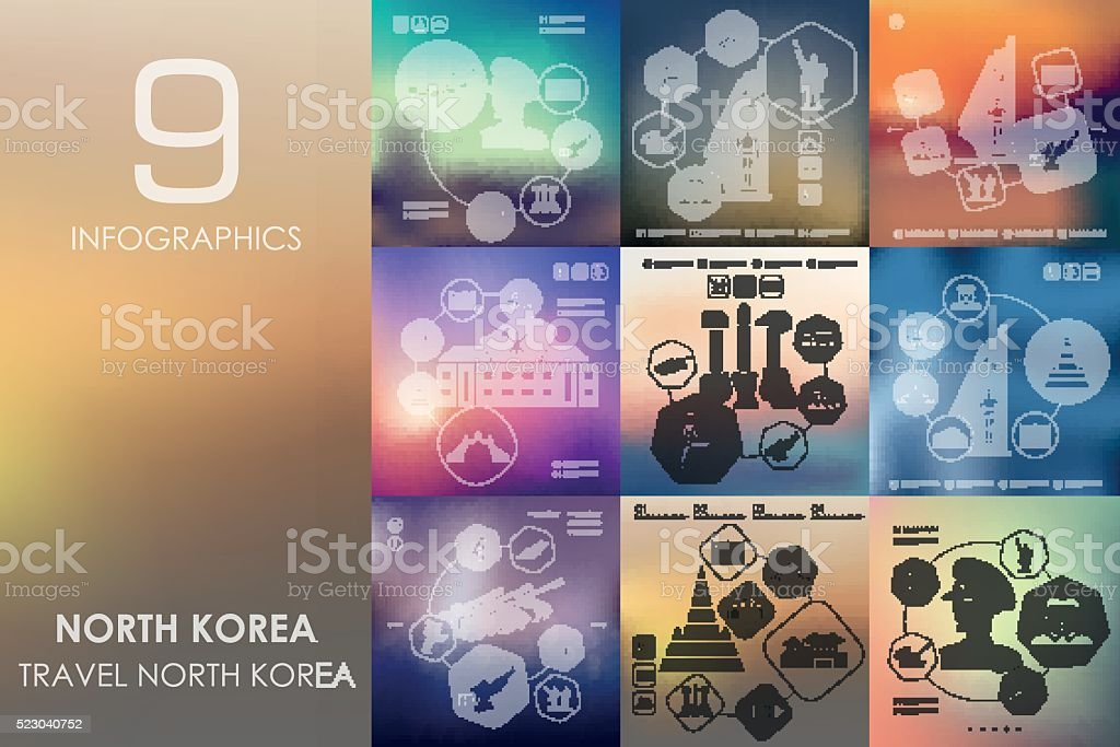 North Korea infographic with unfocused background vector art illustration