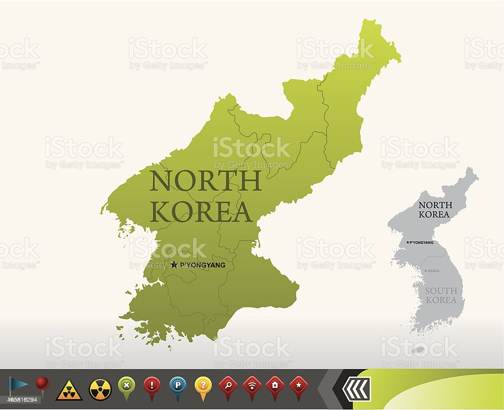 North Korea map with navigation icons vector art illustration