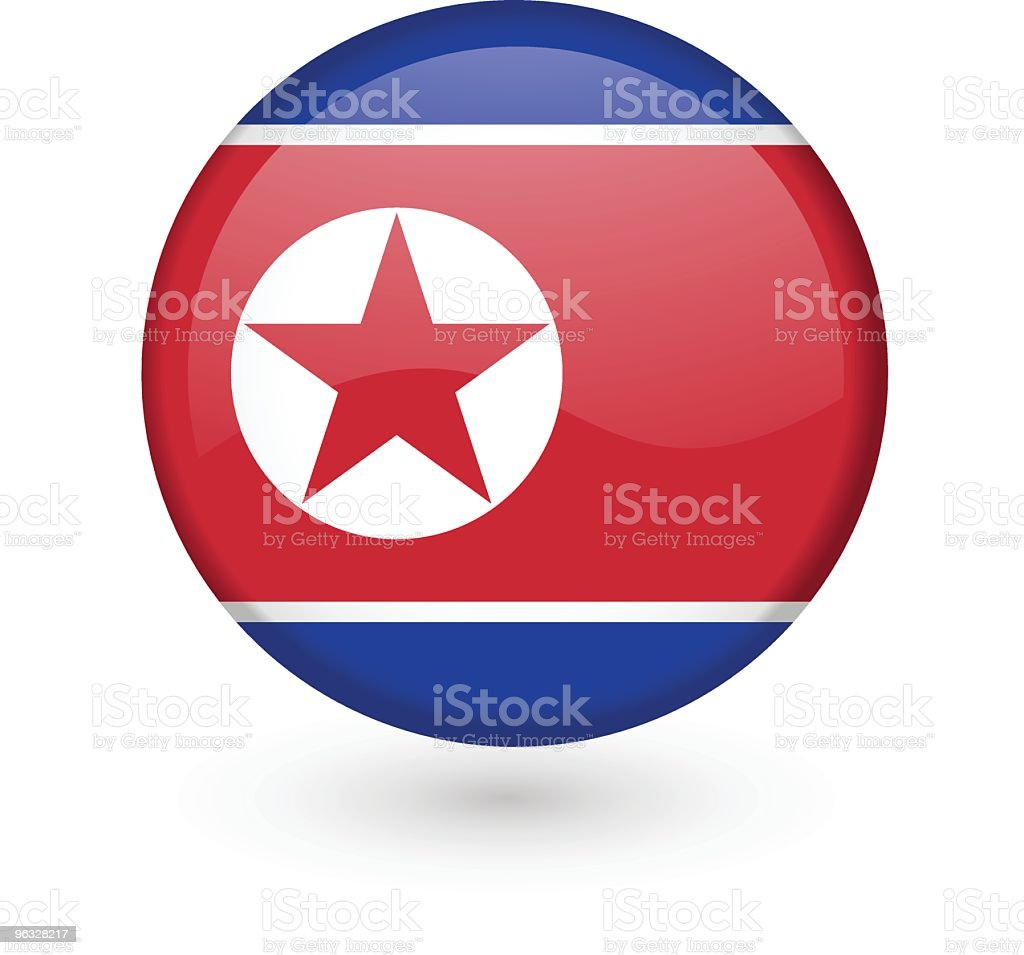 North Korean flag vector button royalty-free stock vector art