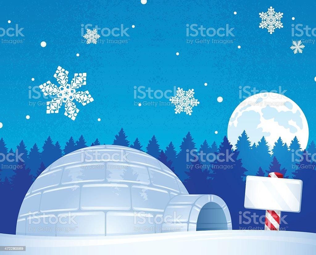 North Pole Igloo vector art illustration