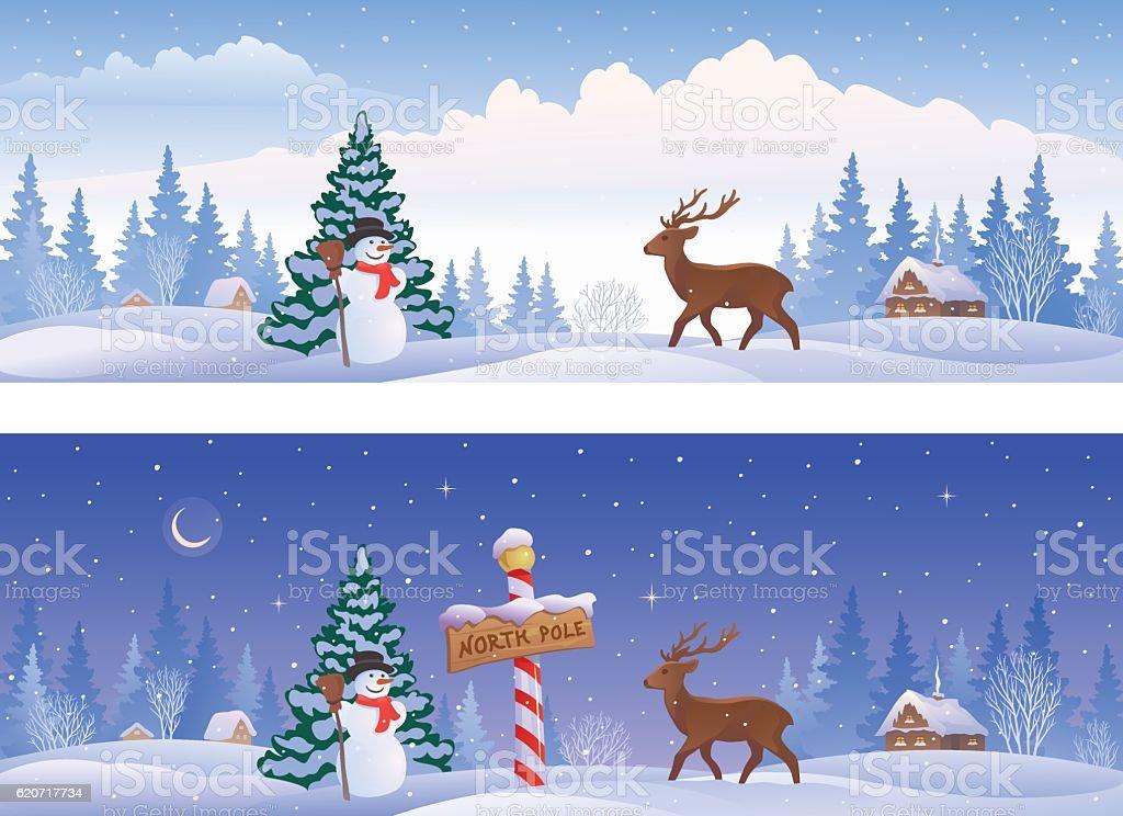 North pole landscape banners vector art illustration