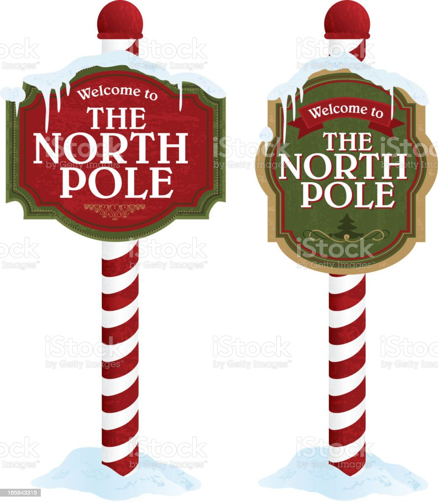 North pole sign variety set on white background vector art illustration