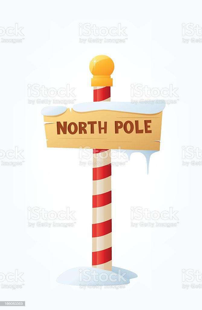 North Pole sign with a red and white stick vector art illustration