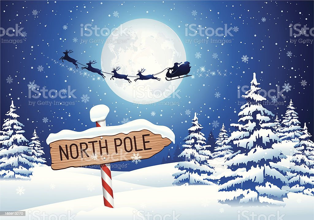 North Pole Sign with Santa Clause vector art illustration