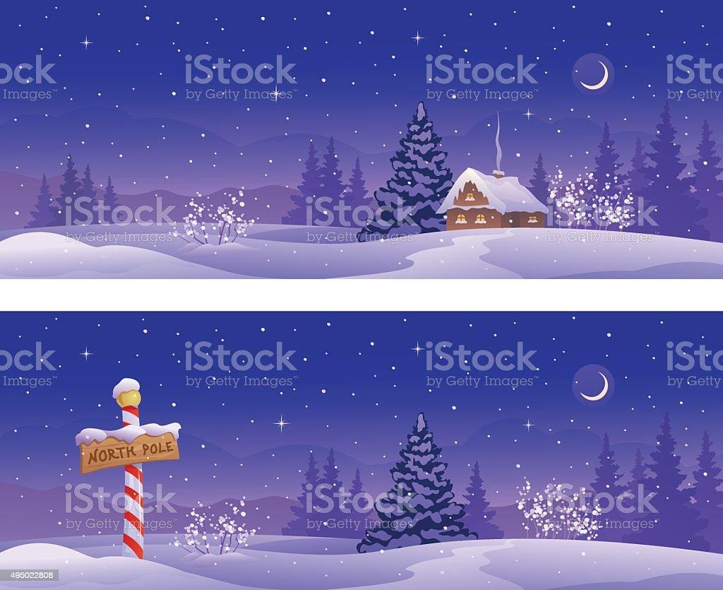 North winter banners vector art illustration