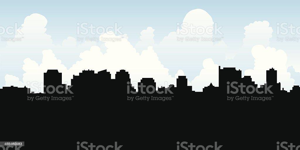 North York Centre Skyline Silhouette vector art illustration