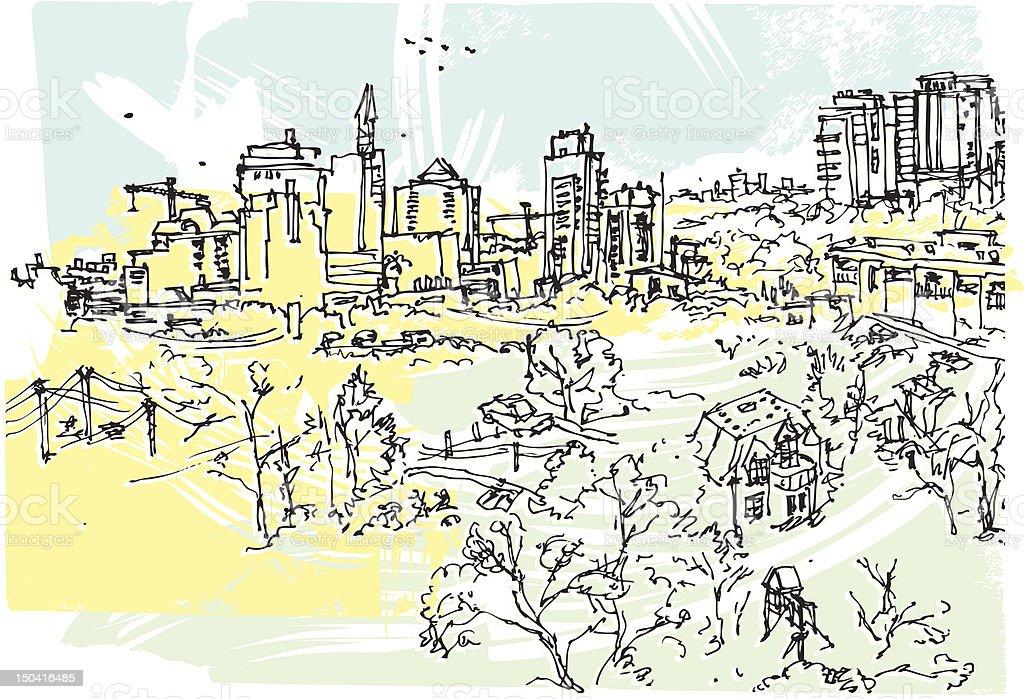 North York skyline vector art illustration