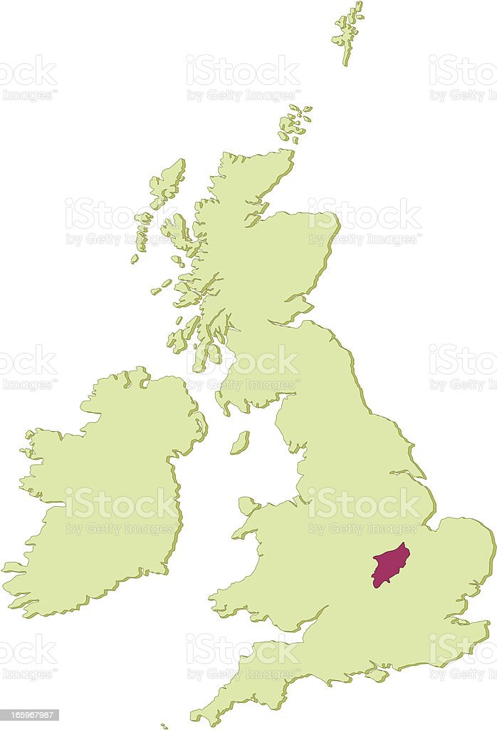 UK Northamptonshire map royalty-free stock vector art
