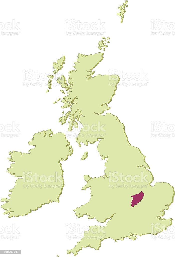 UK Northamptonshire map vector art illustration