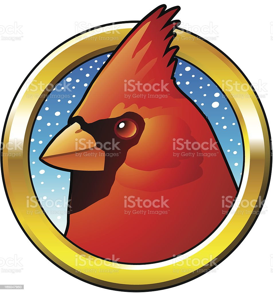 Northern Cardinal in a frame. royalty-free stock vector art