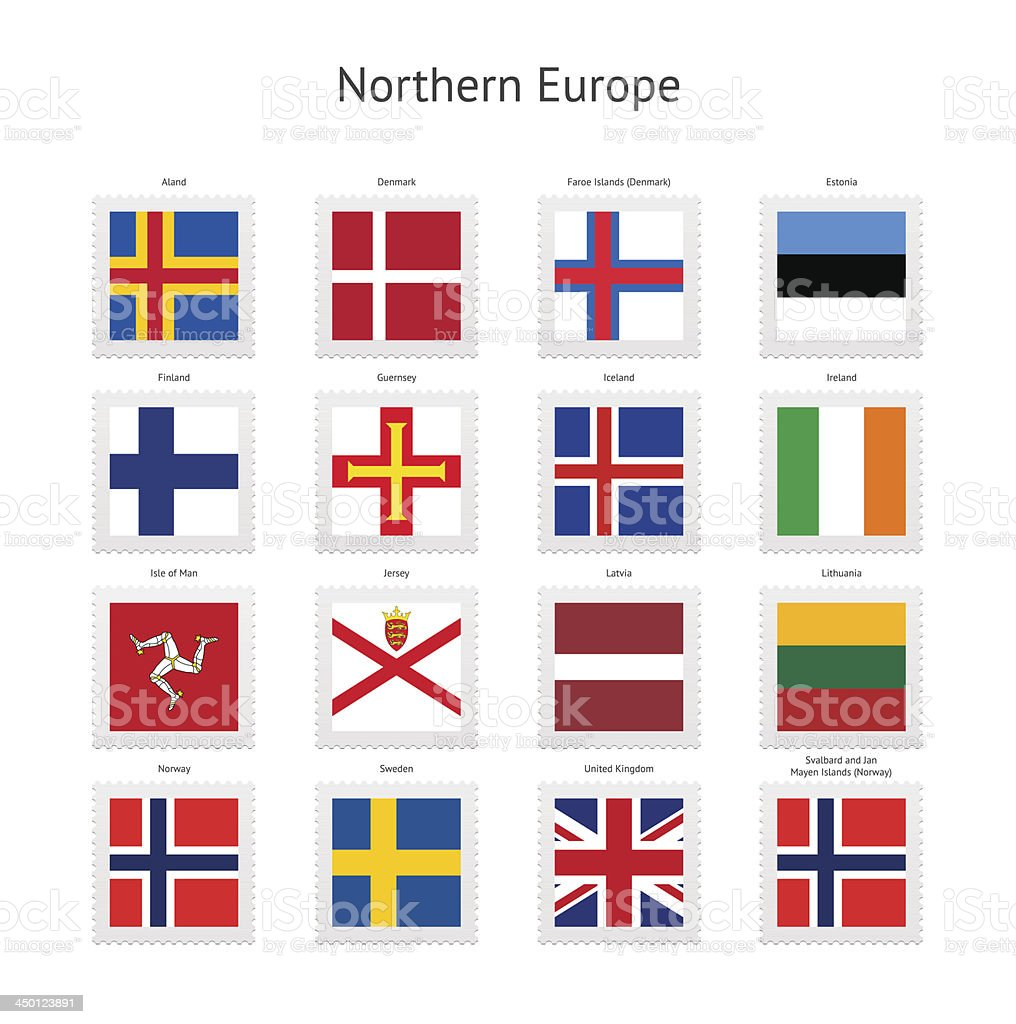 Northern Europe Postage Stamp Flags Collection royalty-free stock vector art