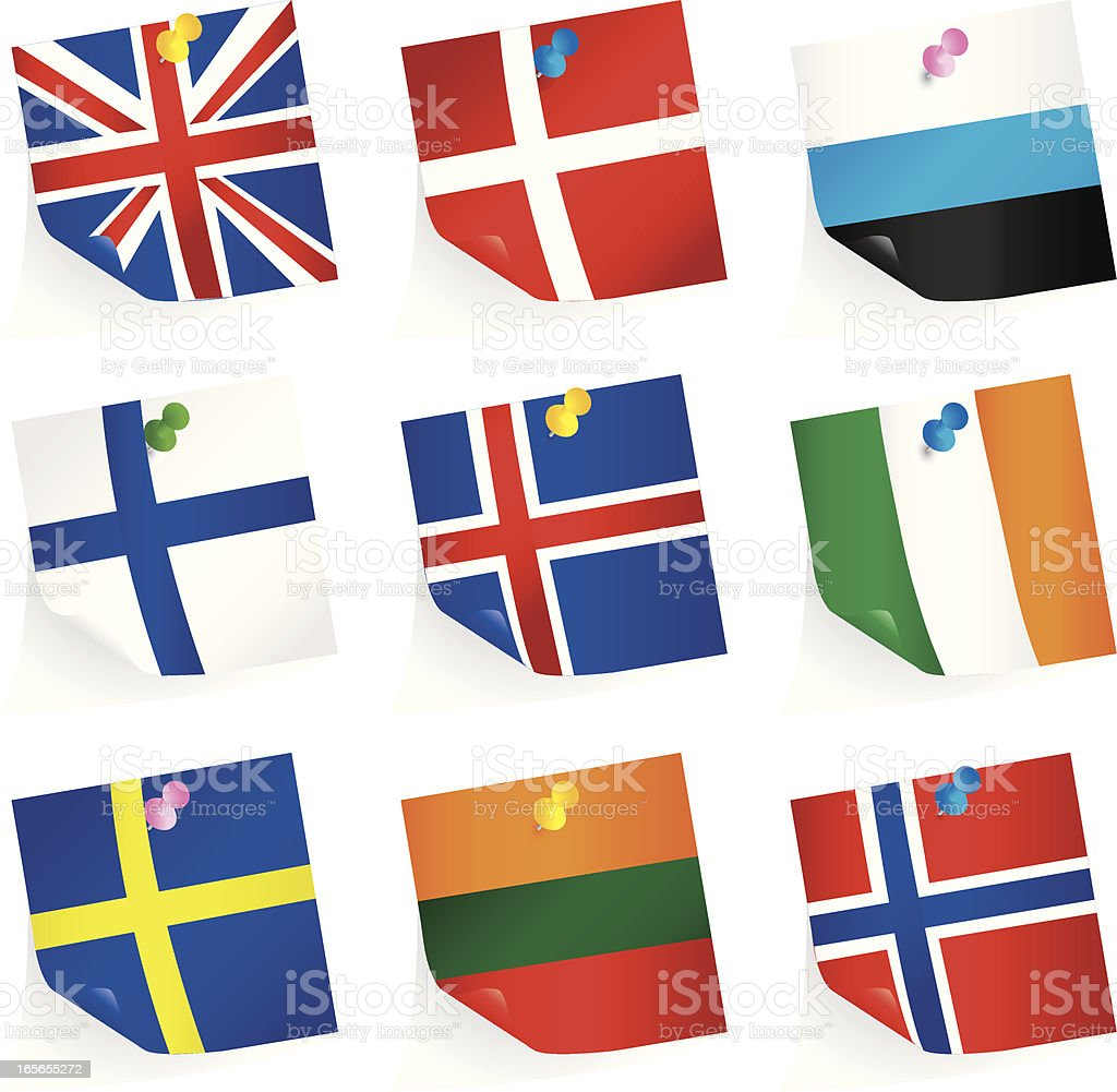 Northern European Union Flags royalty-free stock vector art