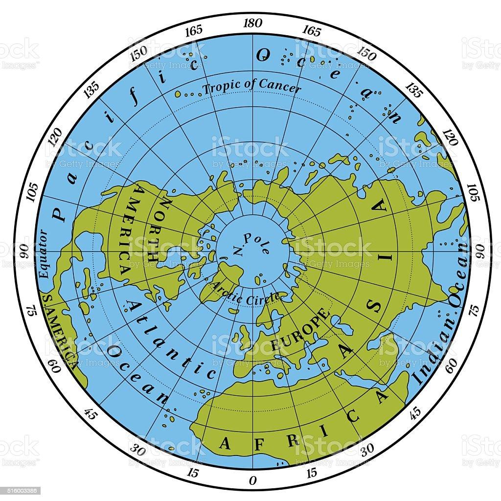 Northern Hemisphere vector art illustration