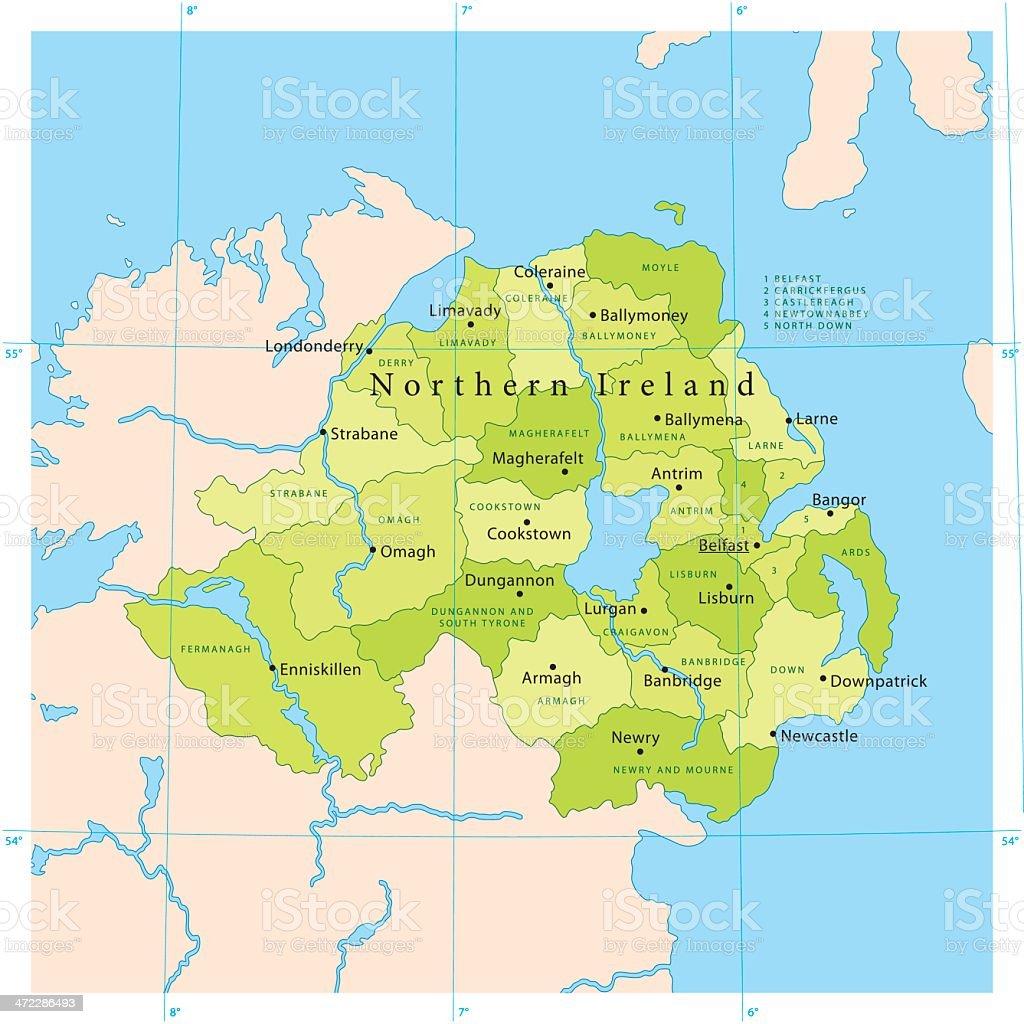 Northern Ireland Vector Map royalty-free stock vector art