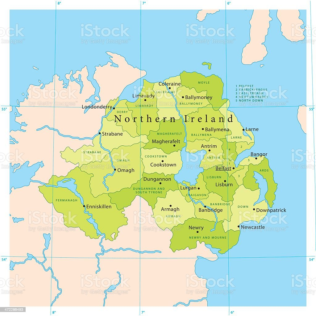 Northern Ireland Vector Map vector art illustration