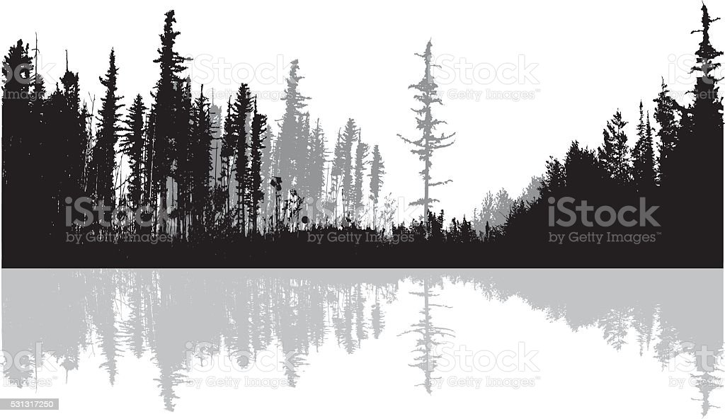 Northern Lake vector art illustration