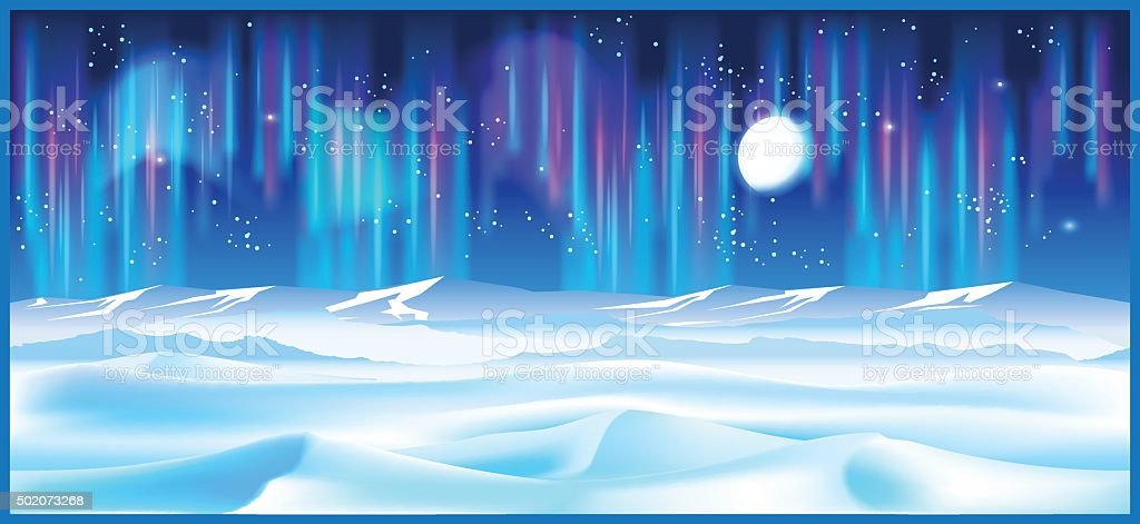 northern landscape at night vector art illustration