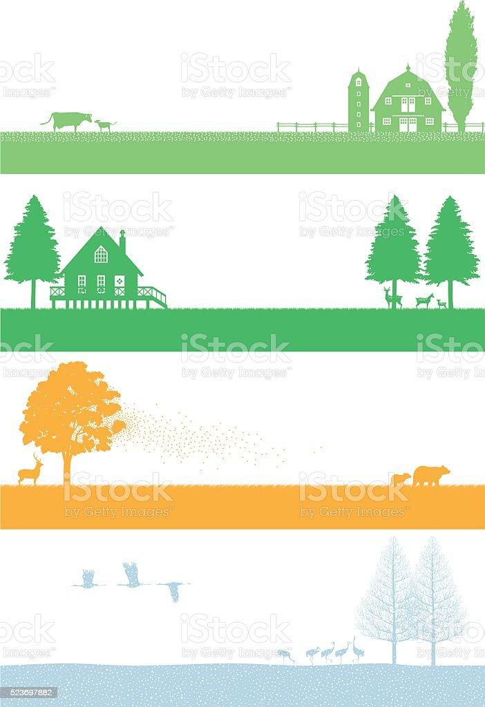 Northern of the four seasons landscape vector art illustration