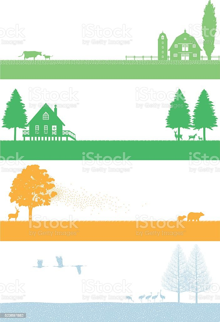 Northern of the four seasons landscape vector art illustration