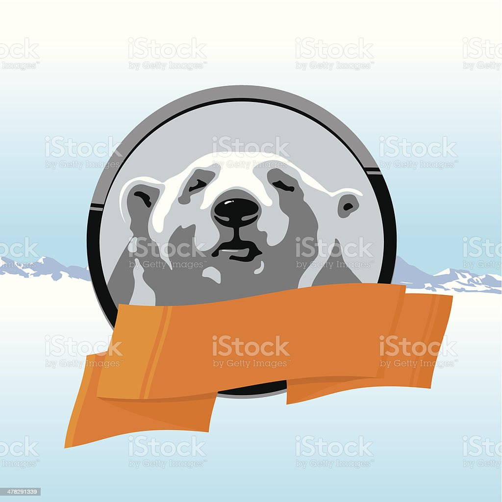 Northern polar bear with orange ribbon royalty-free stock vector art