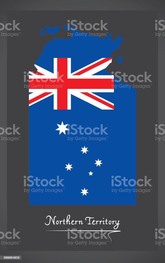 Northern Territory map with Australian national flag illustration vector art illustration