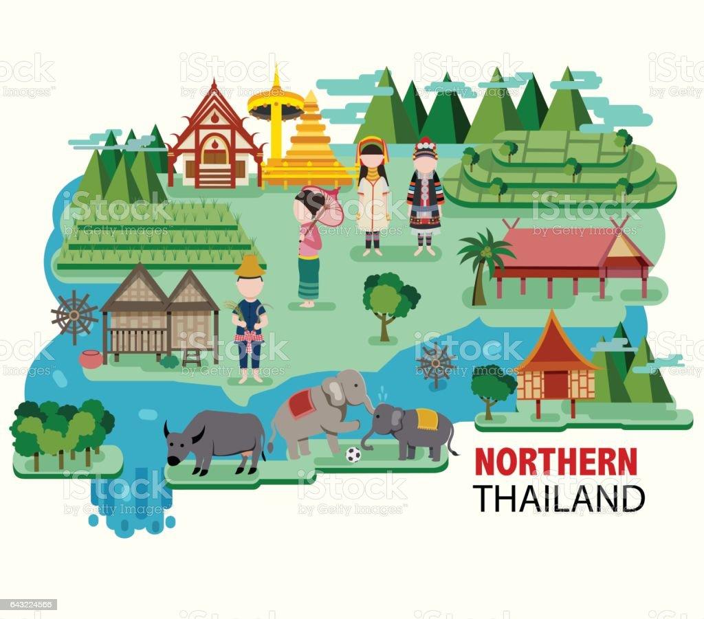 Northern Thailand travel vector art illustration