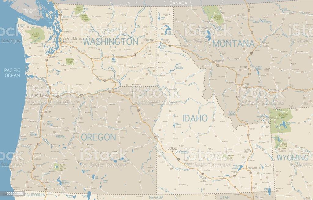 Northwest U.S. States Map vector art illustration