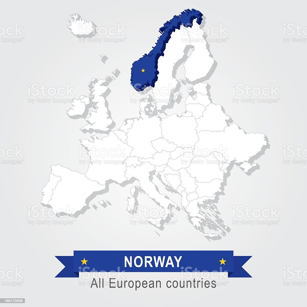 Norway Europe Administrative Map Stock Vector Art IStock - Norway map vector countries