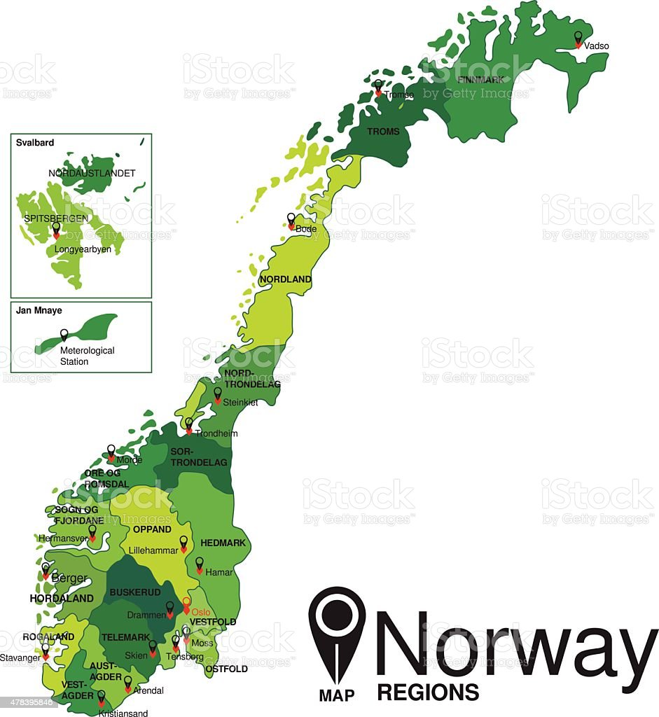 Norway green Map detailed vector vector art illustration