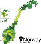 Norway green Map detailed vector