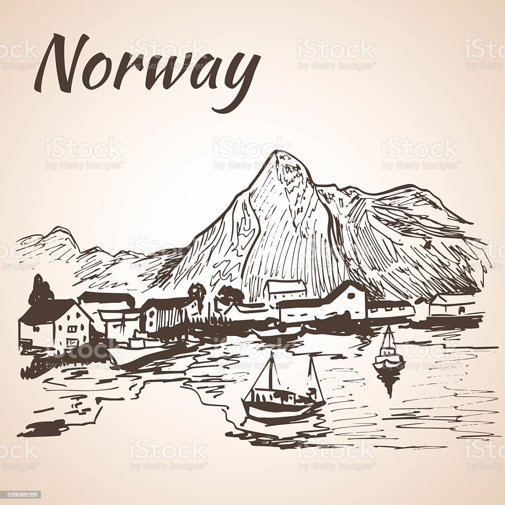 Norway - harbor, waterfront. Sketch. vector art illustration