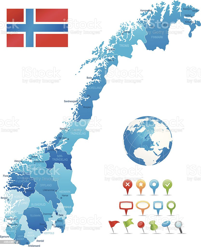 Norway - highly detailed map vector art illustration