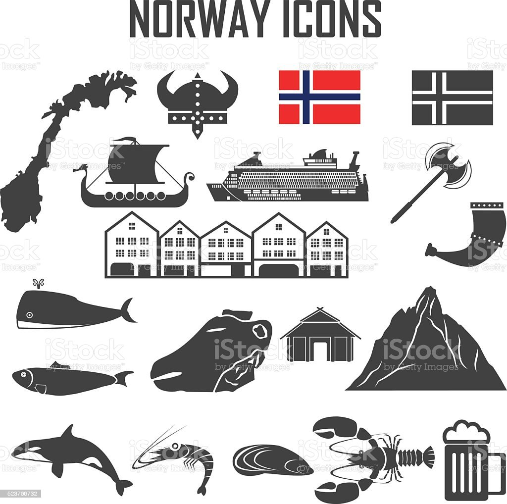 norway icon set. vector art illustration