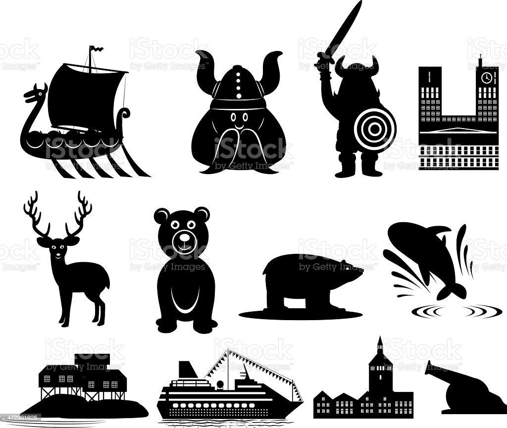 Norway icons vector art illustration