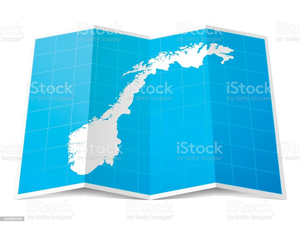 Norway Map folded, isolated on white Background vector art illustration