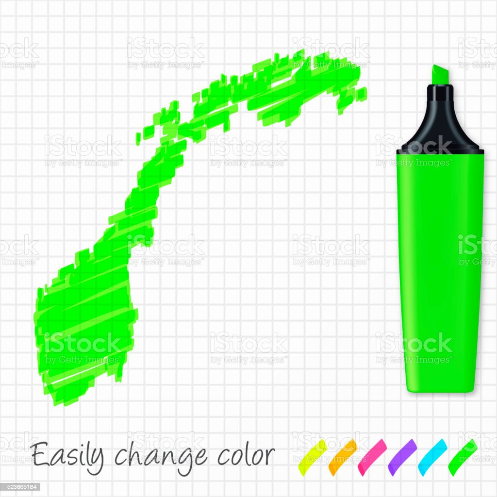 Norway map hand drawn on grid paper, green highlighter vector art illustration