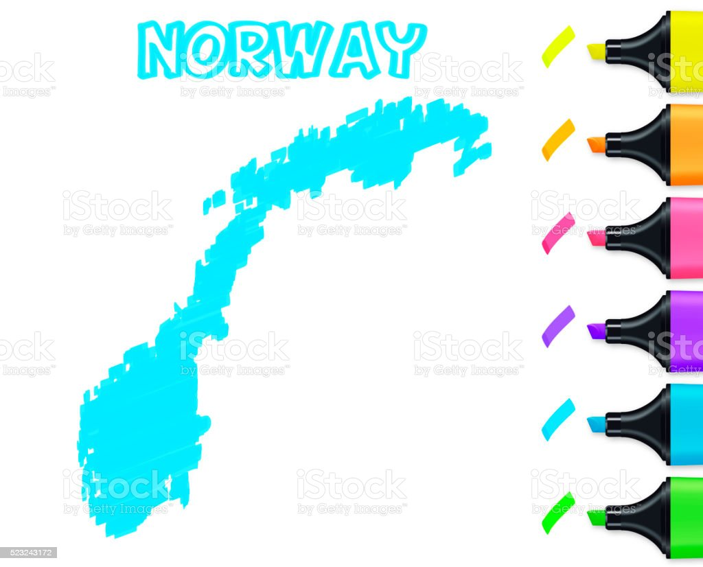 Norway map hand drawn on white background, blue highlighter vector art illustration