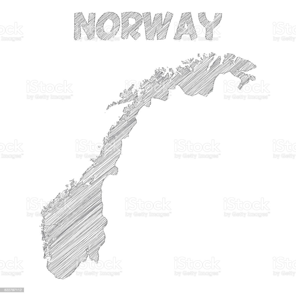 Norway map hand drawn on white background vector art illustration