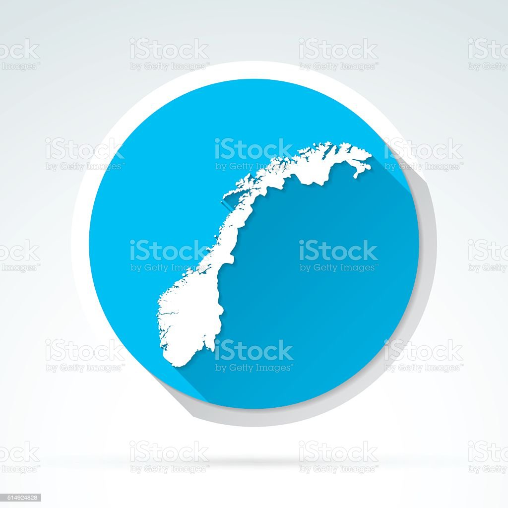 Norway map icon, Flat Design, Long Shadow vector art illustration