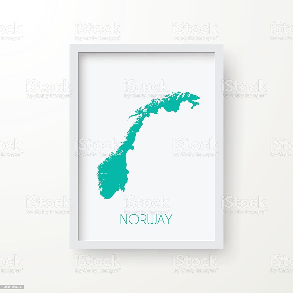 Norway Map in Frame on White Background vector art illustration