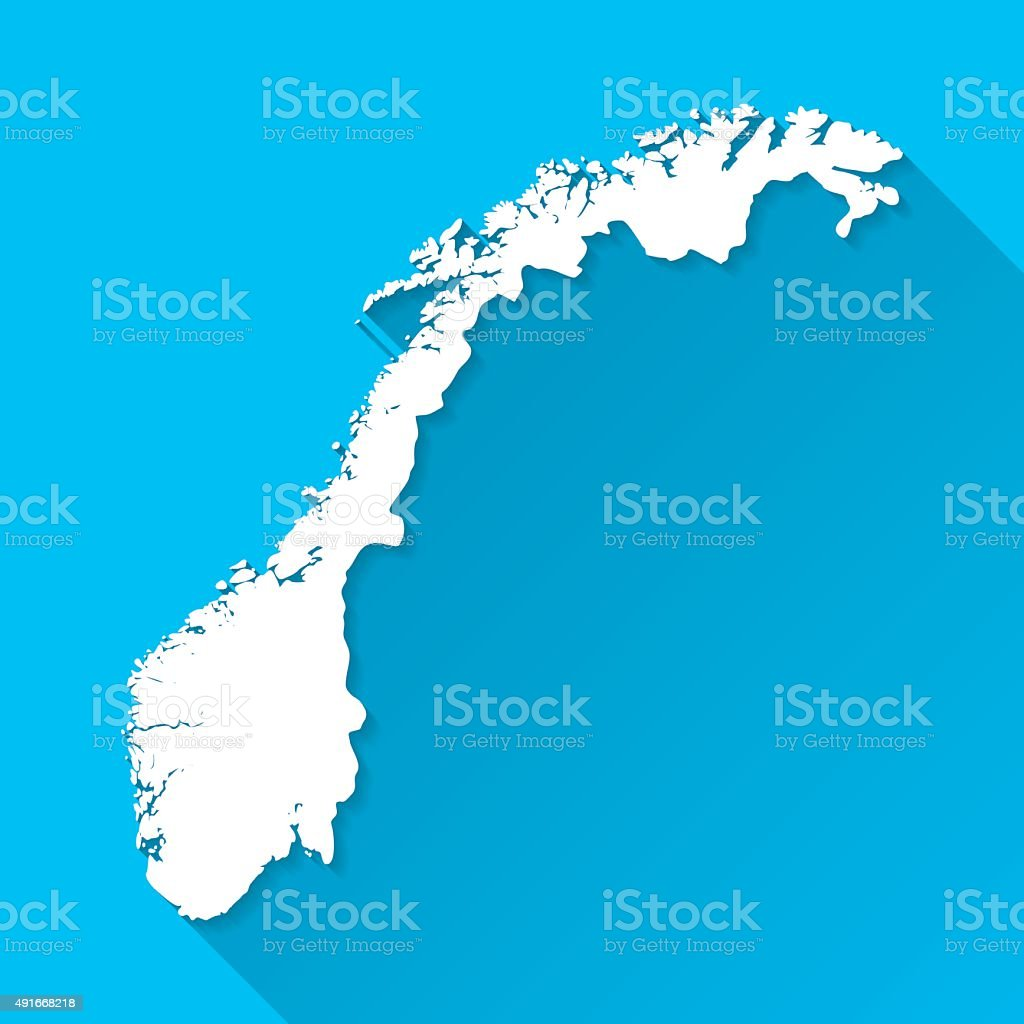 Norway Map on Blue Background, Long Shadow, Flat Design vector art illustration