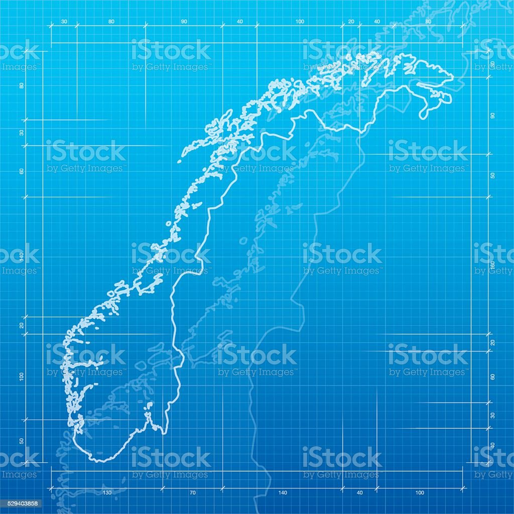 Norway  map on blueprint background vector art illustration