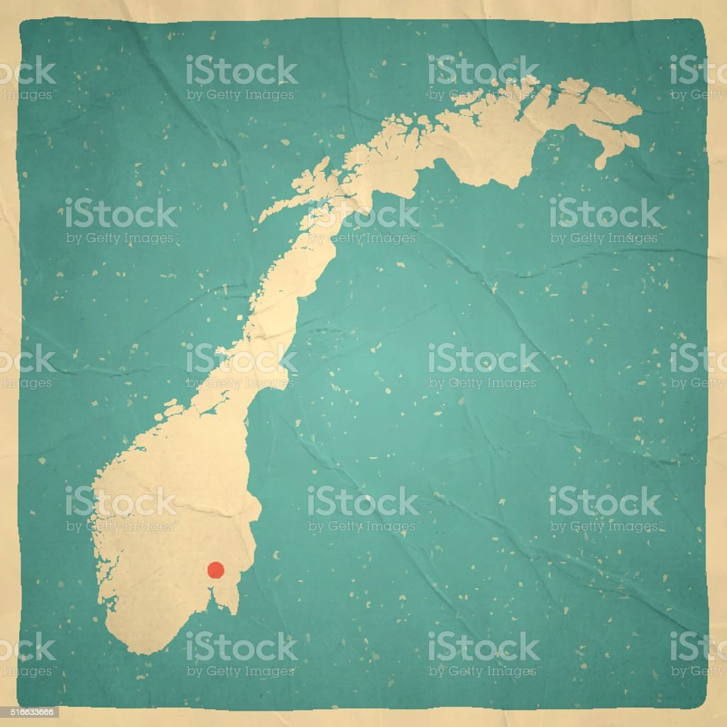 Norway Map on old paper - vintage texture vector art illustration