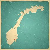 Norway Map on old paper - vintage texture