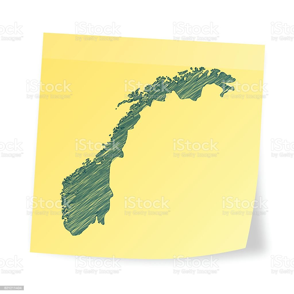 Norway map on sticky note with scribble effect vector art illustration