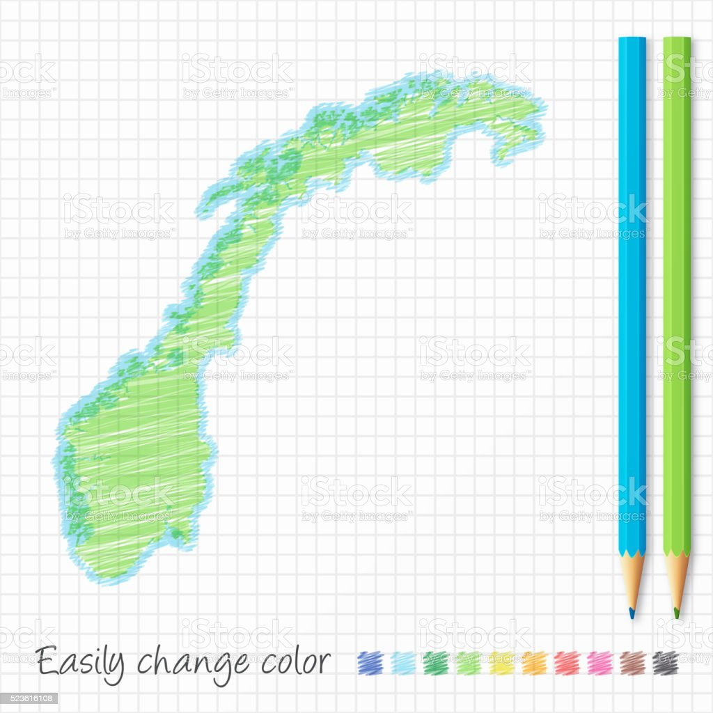 Norway map sketch with color pencils, on grid paper vector art illustration