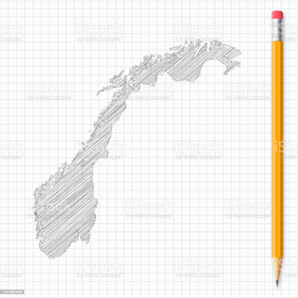 Norway map sketch with pencil on grid paper vector art illustration