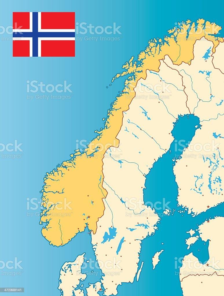 Norway map vector art illustration
