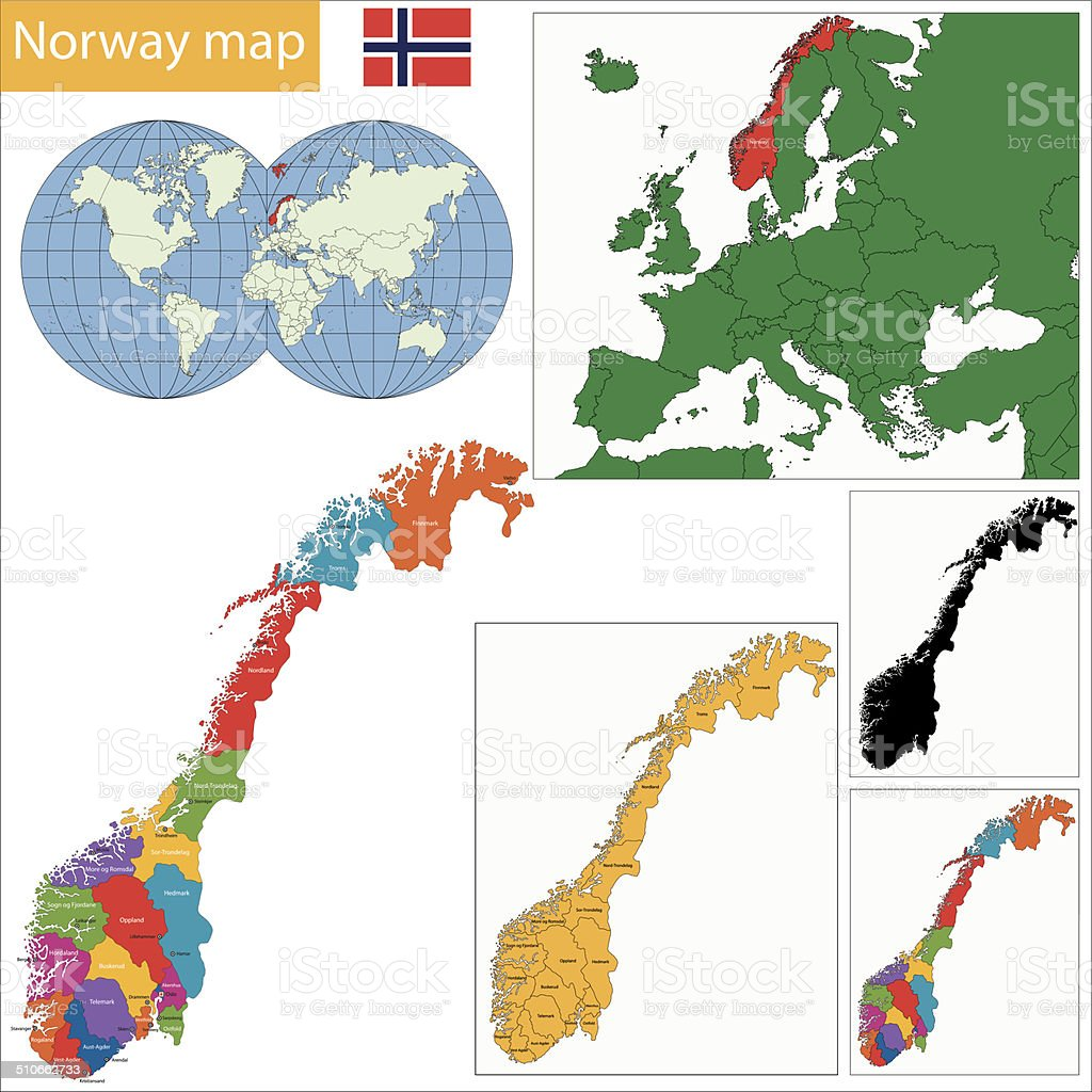 Norway map vector art illustration